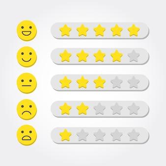 Concepto de retroalimentación calificación de cinco estrellas y escala de emoji para aplicaciones web y móviles