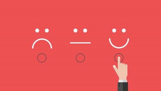 Concepto de retroalimentación del cliente de encuesta comercial, símbolo de emociones en felicidad para el mejor ranking de servicio