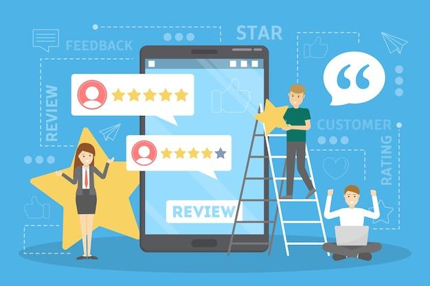 Concepto de retroalimentación. idea de revisión del cliente. opinión positiva