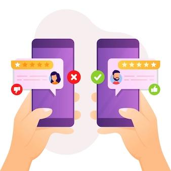 Concepto de retroalimentación y revisión para satisfacción del cliente