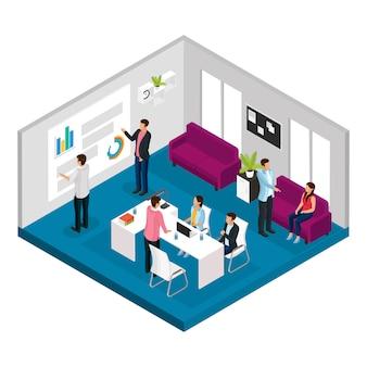 Concepto de reunión de negocios isométrica