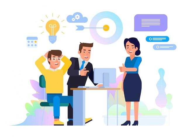 Concepto de reunión de negocios lluvia de ideas.