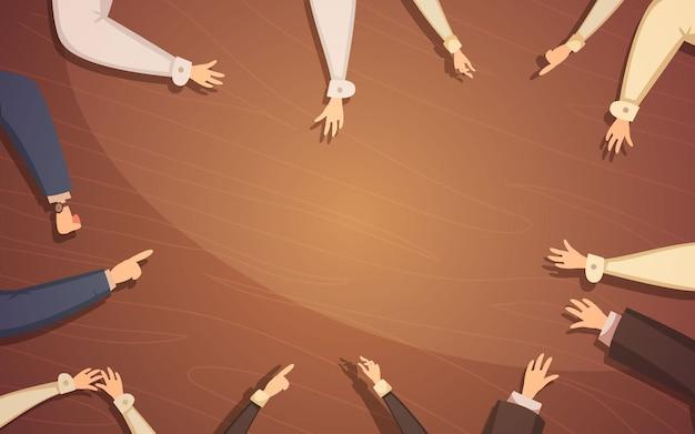 Concepto de reunión de negocios con manos de personas y mesa de dibujos animados vector ilustración