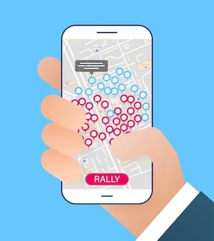 Concepto de reuniones virtuales en el mapa comentarios o conversaciones en el mapa a través de la aplicación