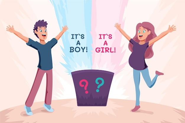 Concepto de revelación de género de dibujos animados