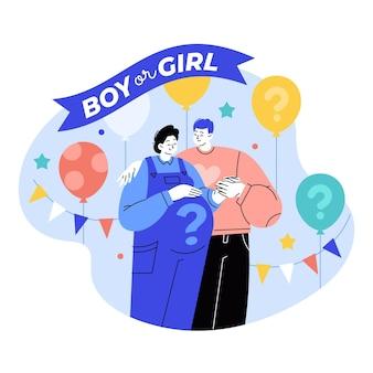 Concepto de revelación de género ilustrado