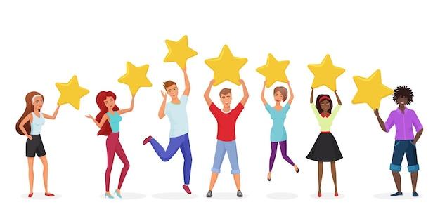 Concepto de revisiones de comentarios positivos de clientes