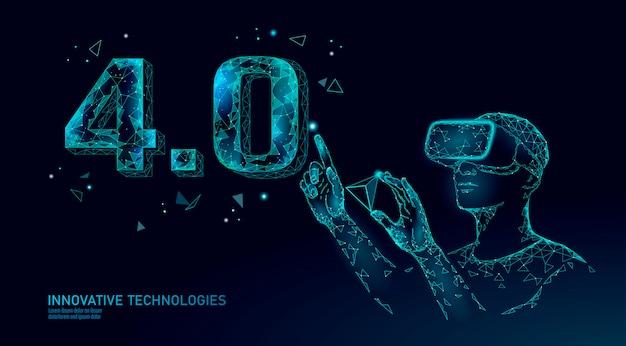 Concepto de revolución industrial futura de baja poli. gafas de casco vr ensambladas con el número industry 4.0. gestión de la industria de realidad aumentada en línea.