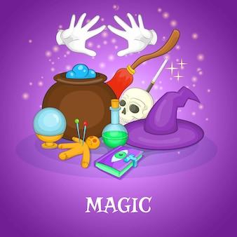 Concepto de rituales de mago, estilo de dibujos animados