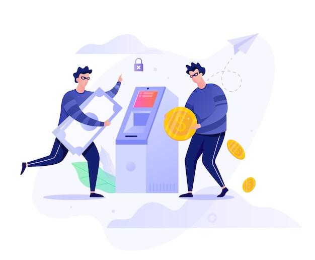 Concepto de robo de cajeros automáticos. personaje criminal robando dinero