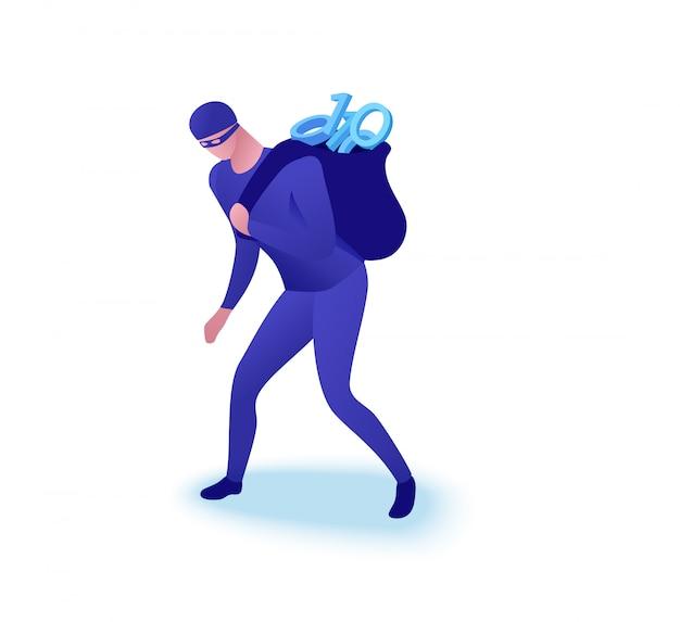 Concepto de robo de datos, hombre robando información.