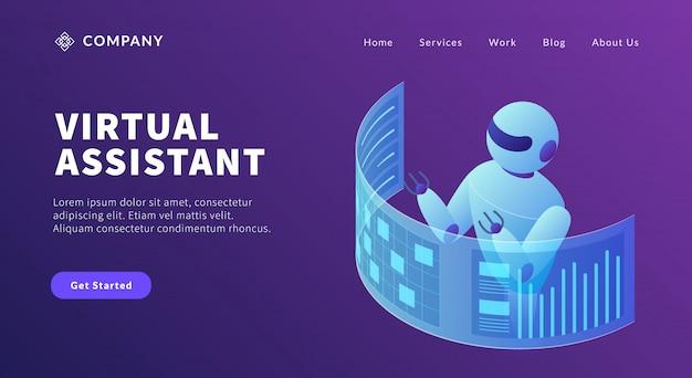 Concepto de robot asistente virtual para hacer información de datos de listas y gráficos para la plantilla del sitio web o la página de inicio