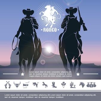Concepto de rodeo de vaquero vintage con jinetes a caballo y la ilustración de los iconos del salvaje oeste,