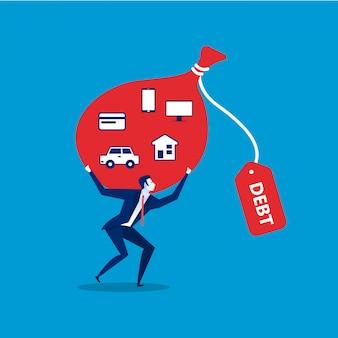 Concepto rojo de las obligaciones de deuda. obligaciones de la deuda ilustración plana.
