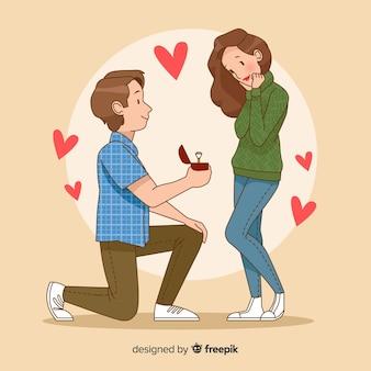 Concepto romántico de propuesta de matrimonio