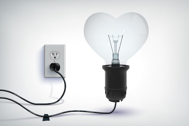 Concepto romántico realista de bombilla con cable realista en forma de corazón con enchufe aislado