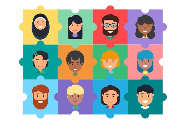 Concepto de rompecabezas de construcción de equipos de comunidad diversa