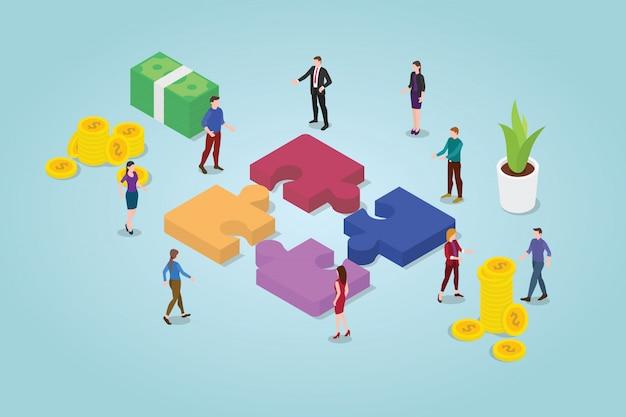 Concepto de rompecabezas de trabajo en equipo con un equipo que trabaja junto con rompecabezas y algunos íconos financieros