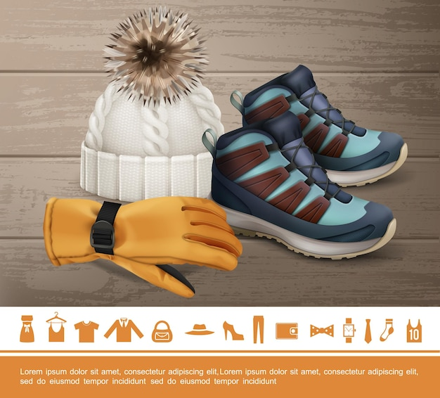 Concepto de ropa de invierno realista con guantes de punto, zapatillas, zapatos, relojes, corbata, calcetín, camisa, bolsa, chaqueta, vestido, pantalones, cartera, arco, iconos