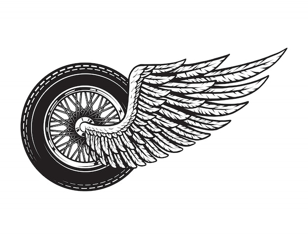 Concepto de rueda de moto alada vintage