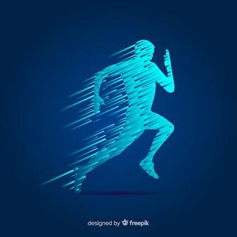 Concepto de running con forma abstracta