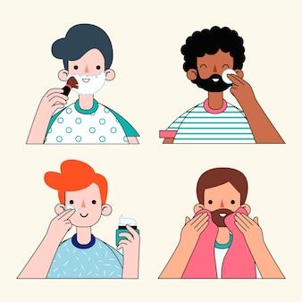 Concepto de rutina de cuidado de la piel para hombres