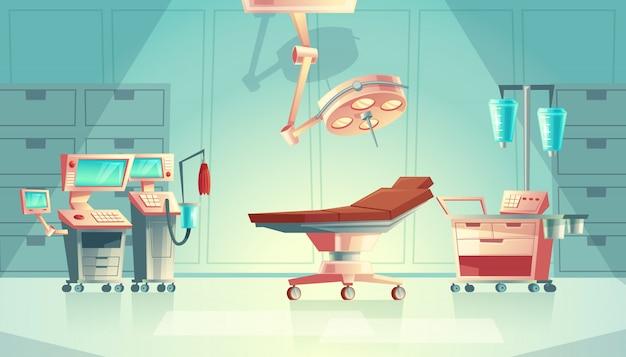 Concepto de sala de cirugía médica, equipo de hospital de dibujos animados. sistema de soporte de vida medicinal