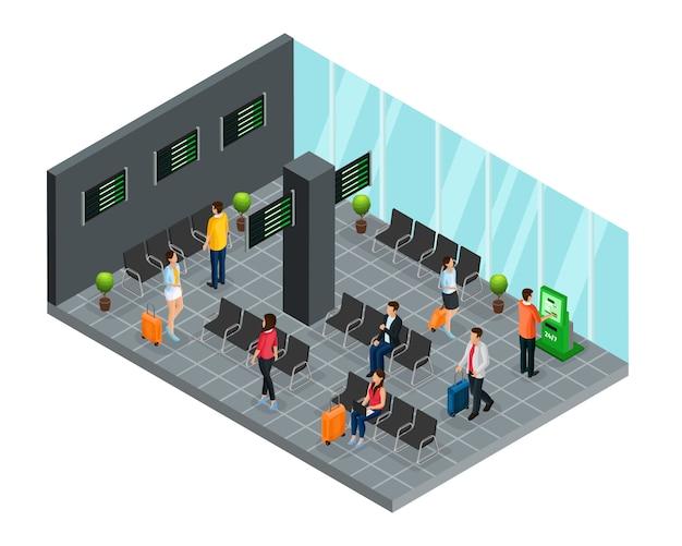Concepto de sala de embarque de aeropuerto isométrica