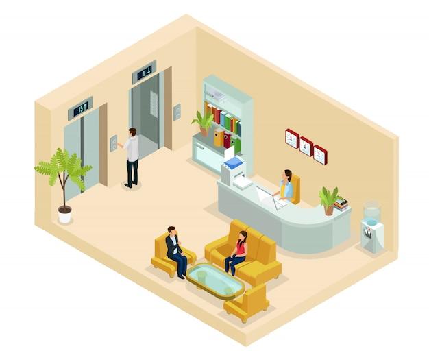 Concepto de sala de oficina isométrica con secretaria gente sentada en el sofá, estantería, relojes, enfriadores de agua, elevadores aislados