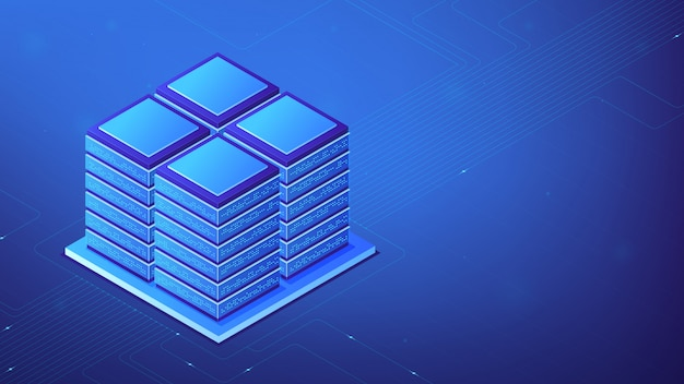 Concepto de sala de servidor isométrica.