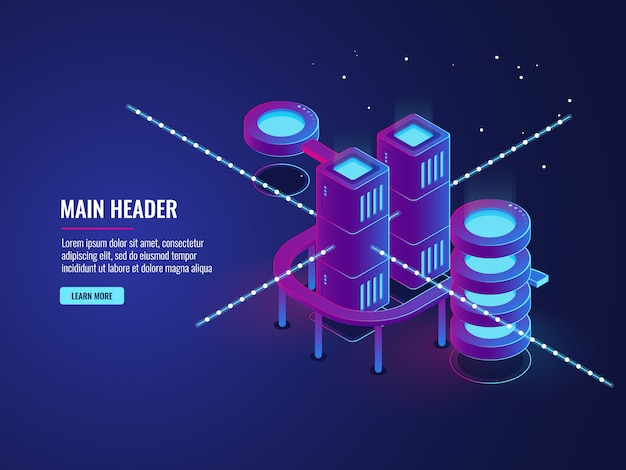Concepto de sala de servidores, banner de ciudad inteligente, procesamiento de datos de tráfico y almacenamiento en la nube