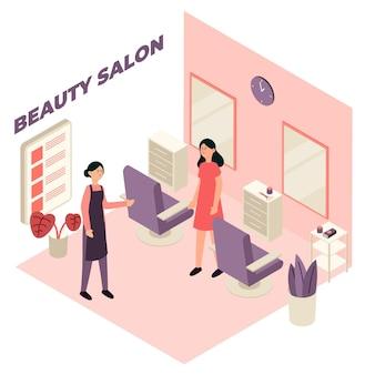 Concepto de salón de belleza isométrica