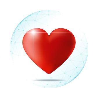 Concepto de salud con corazón rojo protegido en esfera poligonal.