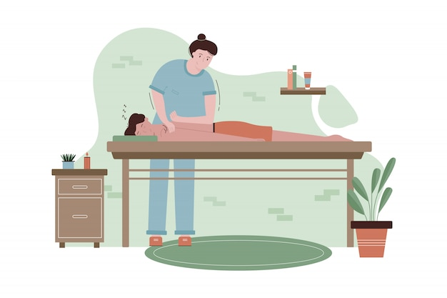 Concepto de salud, cuidado, medicina, masaje, osteopatía.