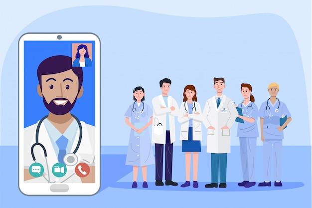 Concepto de salud digital, ilustración de médicos y enfermeras usando un teléfono inteligente para consultar al paciente en línea, vector