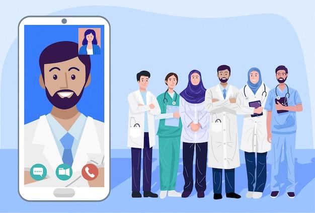 Concepto de salud digital, ilustración de médicos y enfermeras usando un teléfono inteligente para consultar a pacientes en línea,