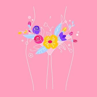 Concepto de salud femenina. higiene de la mujer. el período de menstruación en una niña. ilustración del cuerpo femenino con flores y hojas. ilustración estilizada sobre el cuidado del cuerpo, pérdida de peso y tratamiento.