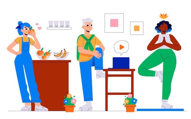Concepto de salud y fitness dibujado a mano con carácter