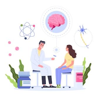 Concepto de salud, idea del médico que se preocupa por la salud del paciente. paciente mujer en consulta con neurólogo. tratamiento médico y recuperación. ilustración