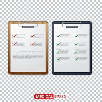 Concepto de salud con la lista de verificación fresca en el portapapeles
