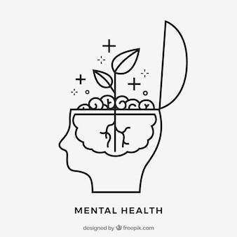 Concepto de salud mental dibujado a mano