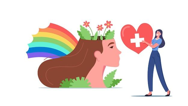 Concepto de salud mental y equilibrio mental con un pequeño personaje femenino lleva un corazón rojo con una cruz cerca de la enorme cabeza de mujer con flores y arco iris de colores. ilustración de vector de gente de dibujos animados