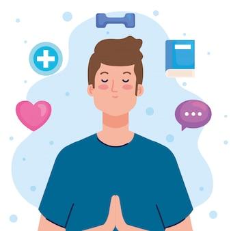 Concepto de salud mental, hombre con mente y diseño de ilustración de iconos saludables