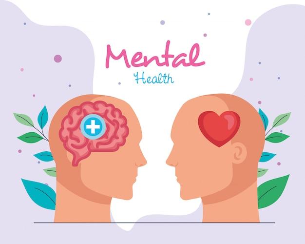 Concepto de salud mental, con perfiles humanos.