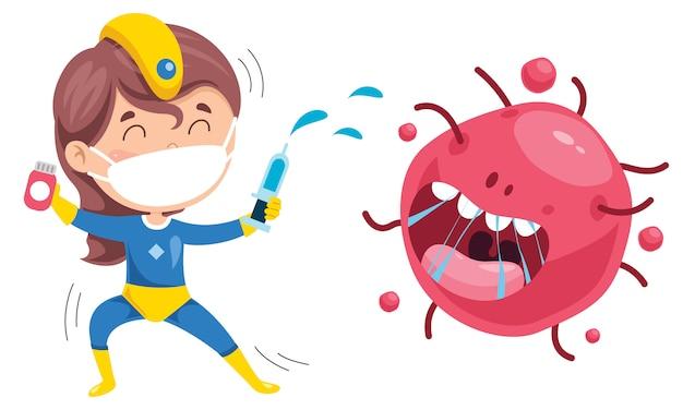 Concepto de salud con personaje de dibujos animados