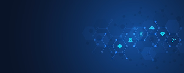 Concepto de salud y tecnología con iconos y símbolos. plantilla para negocios de atención médica, medicina de innovación, formación científica, investigación médica. ilustración.