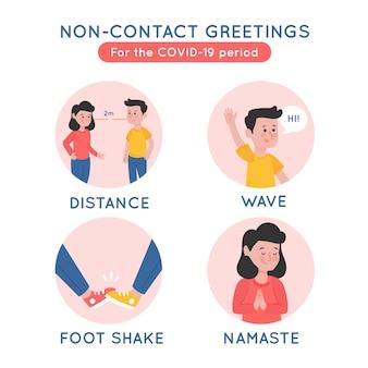 Concepto de saludo sin contacto