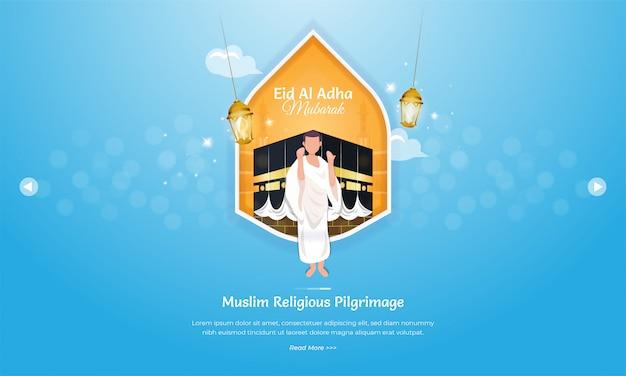Concepto de saludo eid al adha con ilustración de hajj o umrah