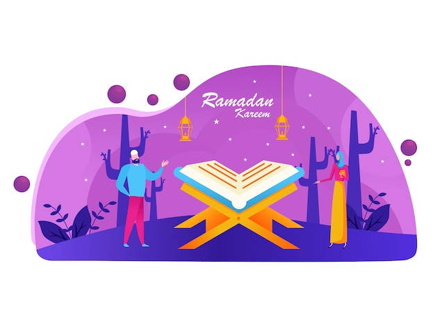 Concepto de saludo feliz ramadán mubarak con carácter de personas