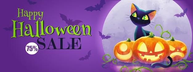 El concepto de saludo de halloween, banner de venta de halloween con gato y calabazas contra la luna llena sobre fondo púrpura